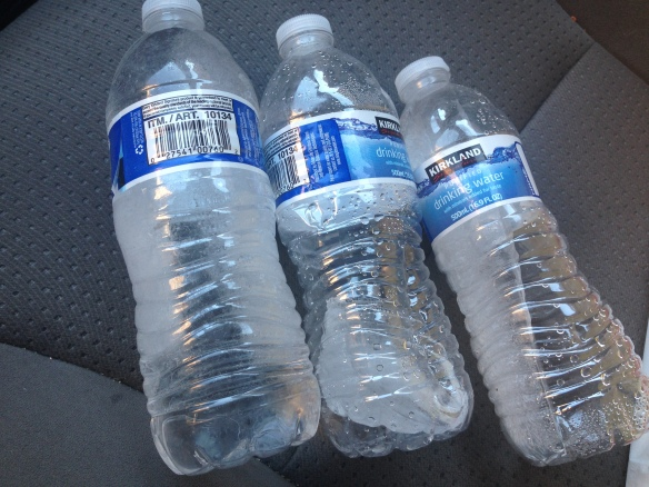 frozen water left in our car