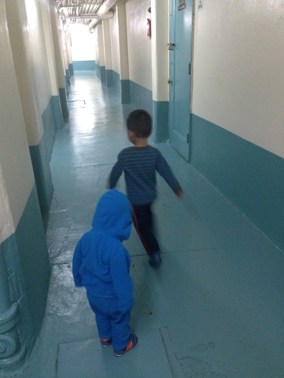 2.27.14  back to running laps in the basement hallway.  even if mama bothered to bundle them back up after naps to go outside for fresh air, too cold to stay out for long.